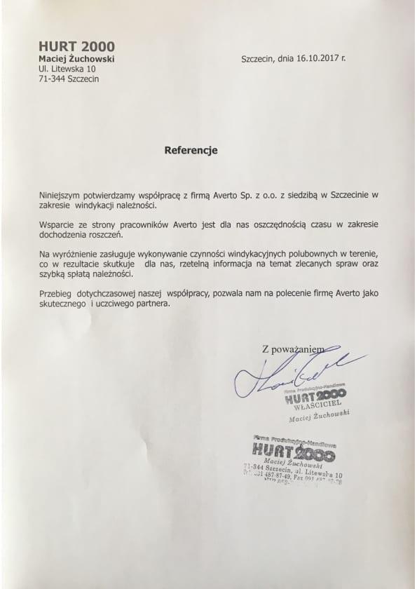 Referencja od firmy HURT2000 Maciej Żuchowski