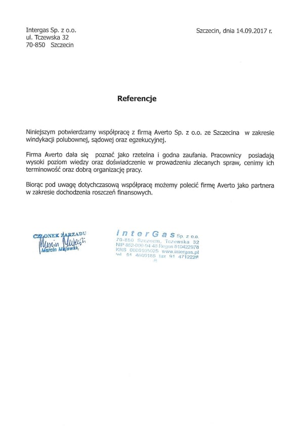 Referencja od firmy Intergas Sp. z o.o.