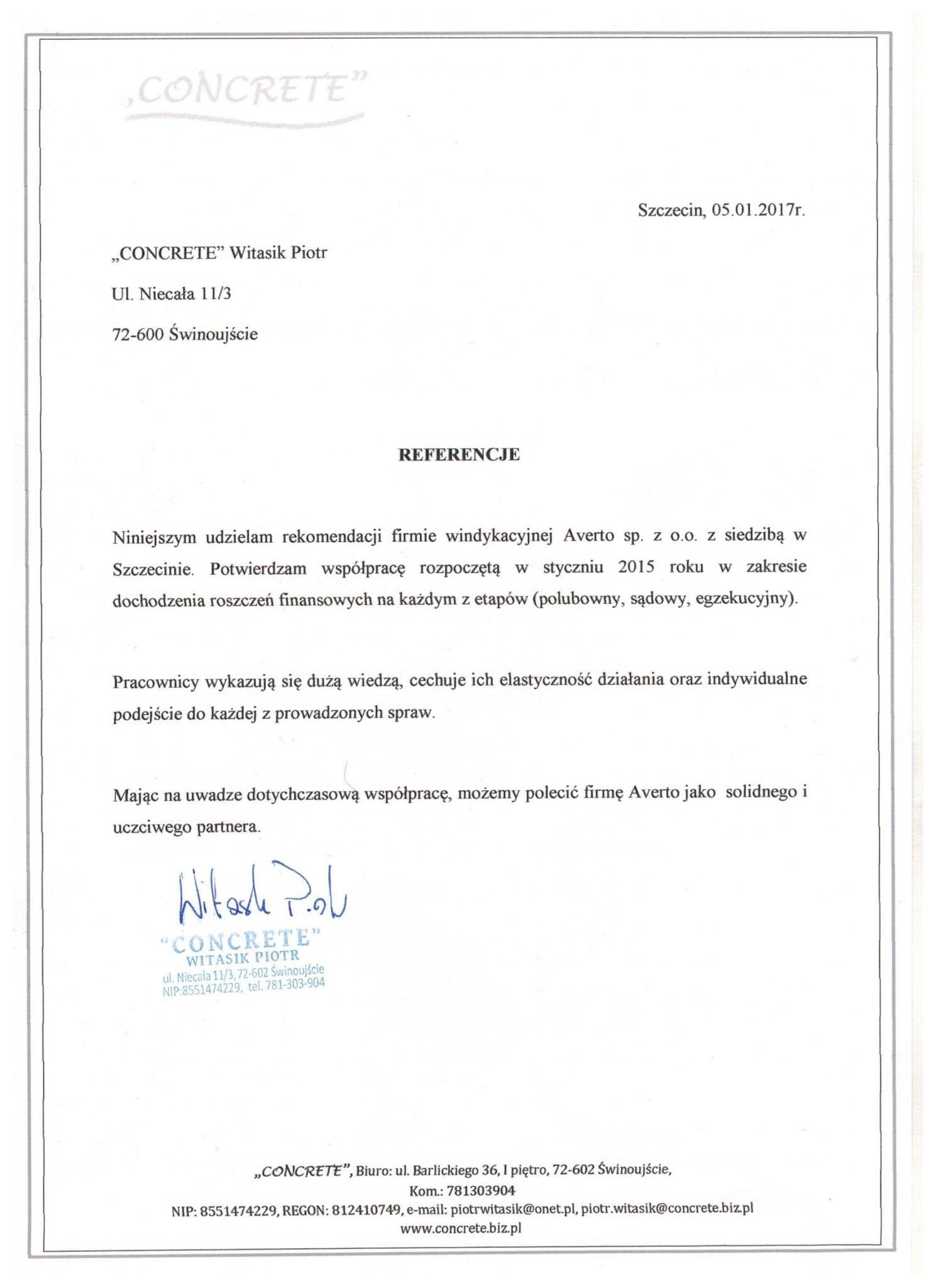 Referencja od firmy CONCRETE Piotr Witasik