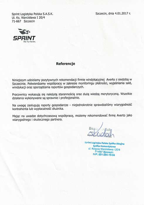 Referencja od Sprint Logistyka Polska S.A.S.K