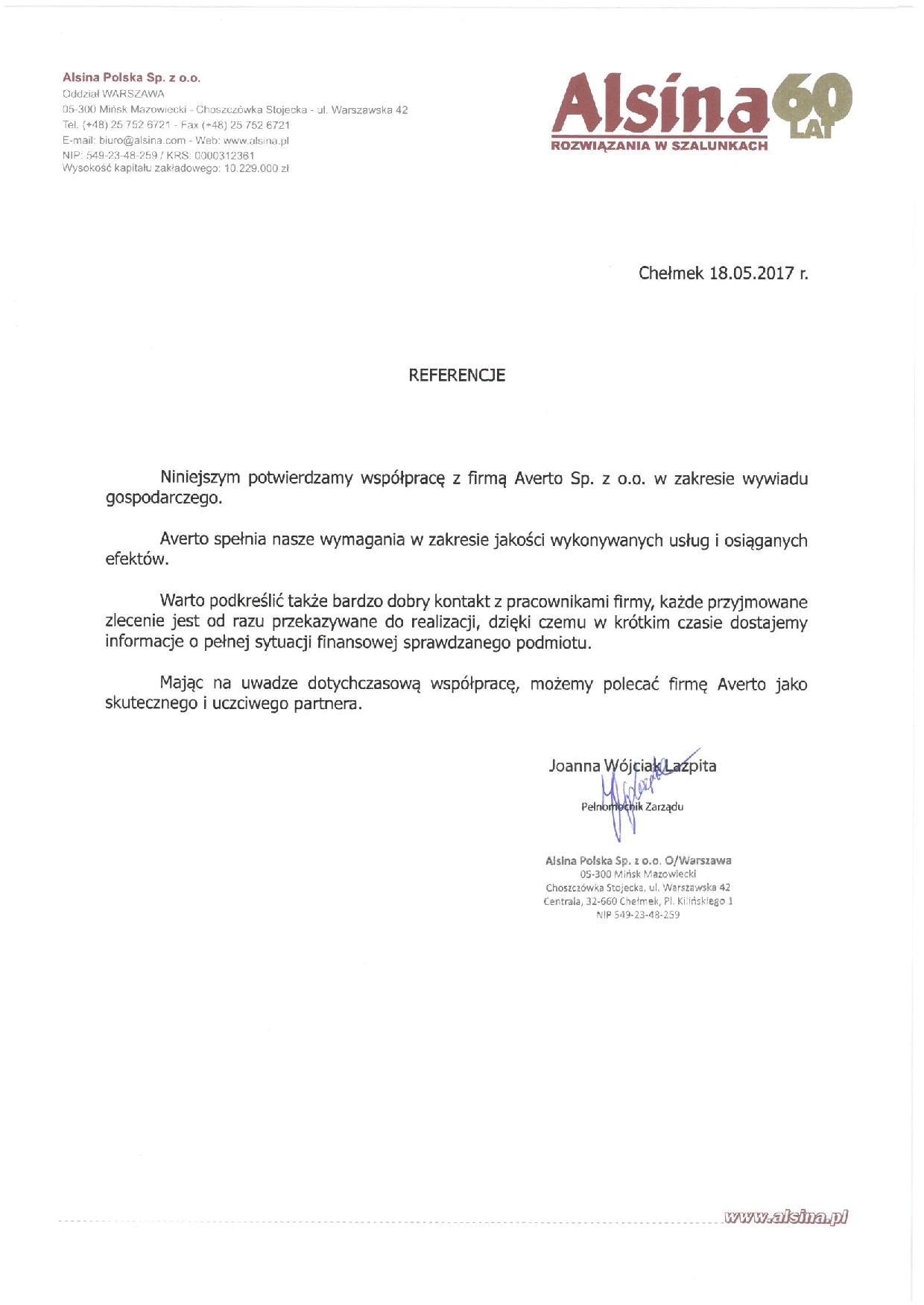 Referencja od Alsina Polska Sp. z o.o.