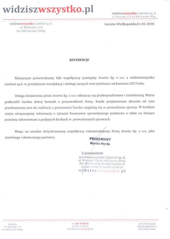 Referencja od Widziszwszystko Limited sp. k.