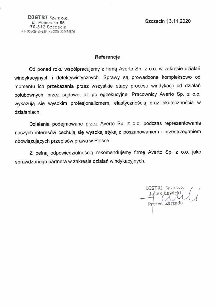 Referencja od firmy Mateco odesty ruchome Sp. z o.o.